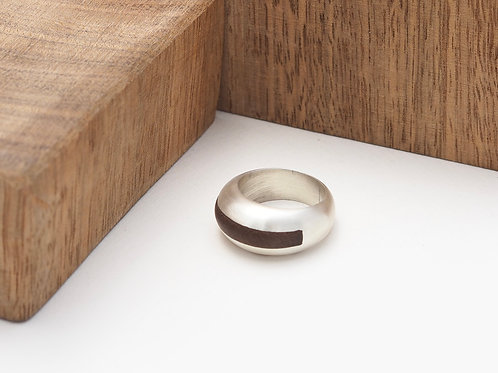 Satin solid silver inlay ring size U