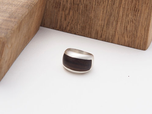Satin solid silver inlay ring size N
