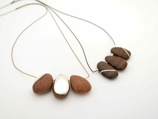 New Pebbles on Silk Neckpeices