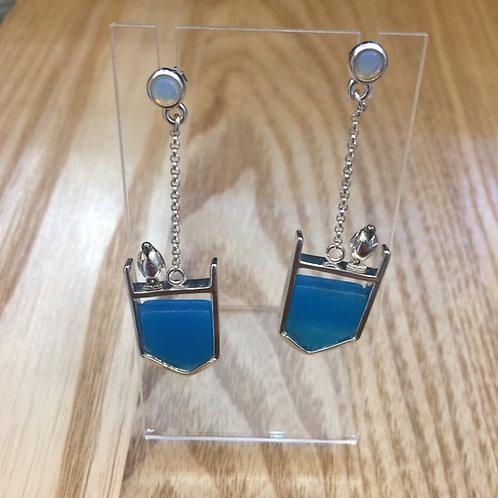BLUE AGATE, SILVER & MOONSTONE PENGUIN EARRINGS