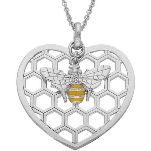 STERLING SILVER  SWAROVSKI CRYSTAL ENAMELED BEE IN BEEHIVE HEART PENDANT