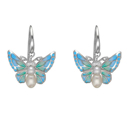 STERLING SILVER, DIAMOND & PEARL BUTTERFLY DROP EARRINGS