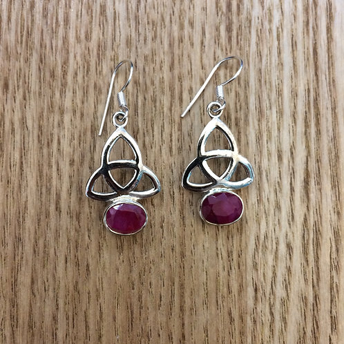 CELTIC TRINITY KNOT EARRINGS WITH RUBY