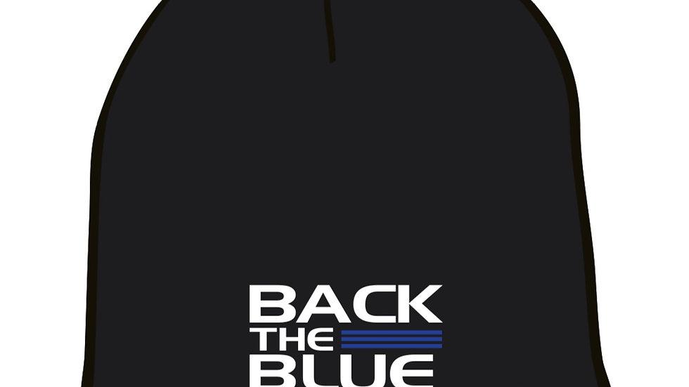 Back the blue knit cap