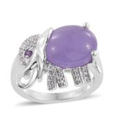 Purple Jade, Multi Gemstone Platinum Over Sterling Silver Ring 5.35 CTW