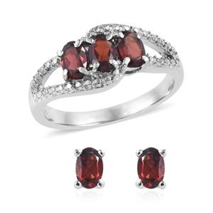 Garnet Ring and Earring Set  (7) 2.76