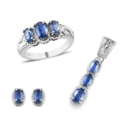 Kashmir Kyanite Earrings, Ring (Size 5) and Pendant.  2.85 CTW