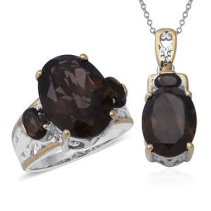 Brazilian Smoky Quartz Ring (Size 8) and Pendant Necklace (18 in)