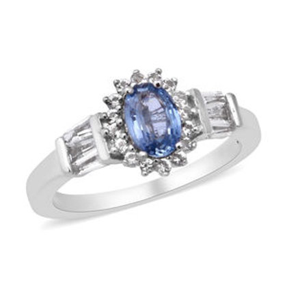 1 ctw Ceylon Sapphire and White Topaz Ring (Size 9)