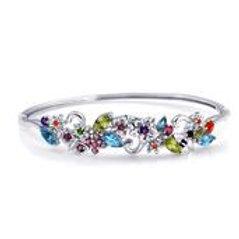 5.73 ctw Multi Gemstone Bangle Bracelet in Platinum Over Sterling Silver 8 Inch