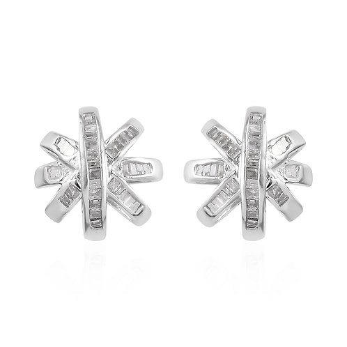 Diamond Stud Earrings in Platinum Over Sterling Silver 0.35 ctw