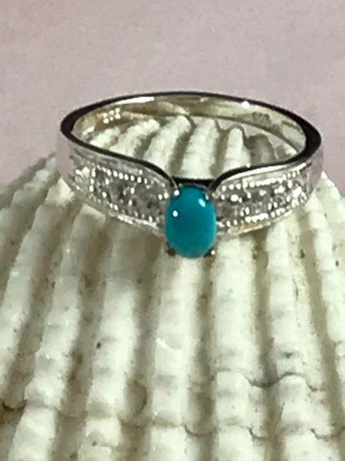 Kingman Turquoise, Cambodian Zircon Sterling Silver Bridge Ring