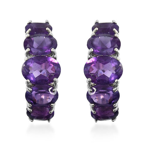 6.80 ctw Amethyst Hoop Earrings in Platinum Over Sterling Silver
