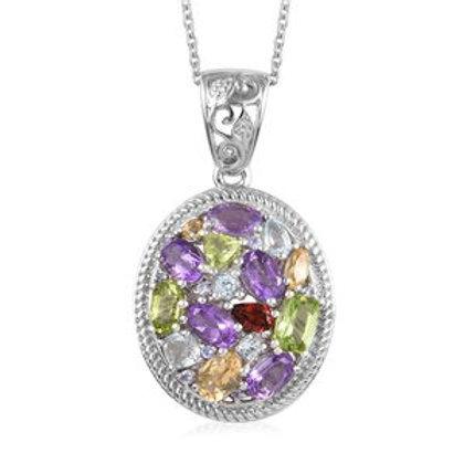 Multi Gemstone Cluster Pendant Necklace.  5.70 CTW