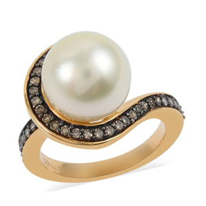 0.31 ctw South Sea Cultured Pearl and Natural Champagne Diamond Ring (8)