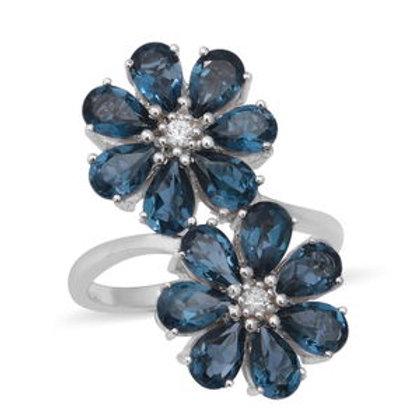 London Blue Topaz, White Zircon Floral Ring (8)