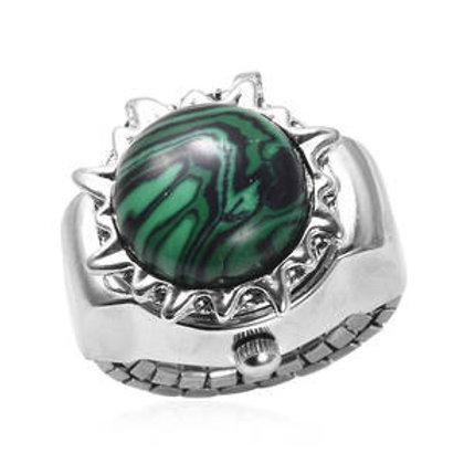 STRADA Malachite Japanese Movement Mandala Sun Shape Watch Ring