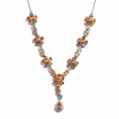 8.83 CTW Orange Sapphire and Zircon Necklace 18 Inch