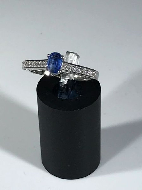 Himalayan Kyanite, Cambodian Zircon Platinum over Sterling Silver Ring (size 8)
