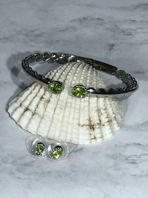 Peridot Stainless Steel Cuff and Earrings.  3.68 CTW