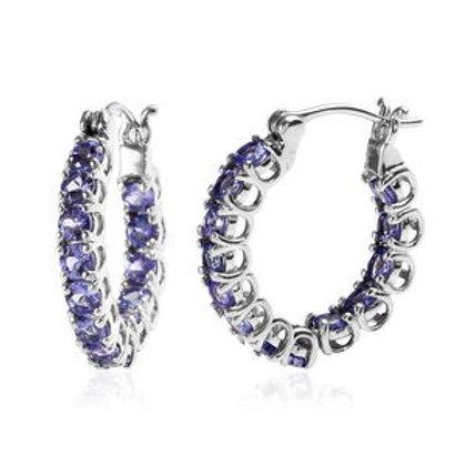 Tanzanite Inside Out Hoop Earrings.  3.35 CTW