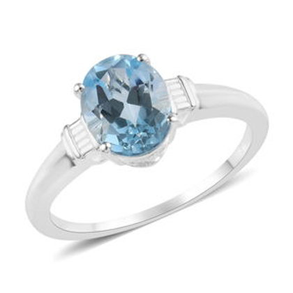Sky Blue Topaz Solitaire Ring in Sterling Silver 2.30 CTW
