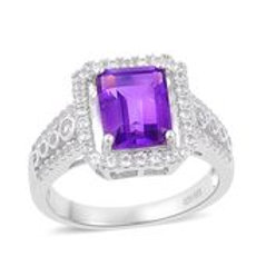 Gorgeous 3.13 CTW Amethyst and White Topaz Ring Size 7