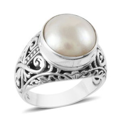 Bali Legacy Mabe White Pearl Ring in Sterling Silver