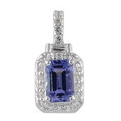 Tanzanite, White Topaz Sterling Silver Pendant without Chain TGW 0.71