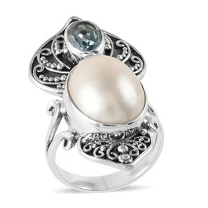 Bali Legacy 1.37 ctw Mabe White Pearl and Sky Blue Topaz Ring in Sterling Silver