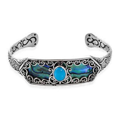 BALI LEGACY Arizona Sleeping Beauty Turquoise, Abalone Cuff Bracelet. 1.66 CTW