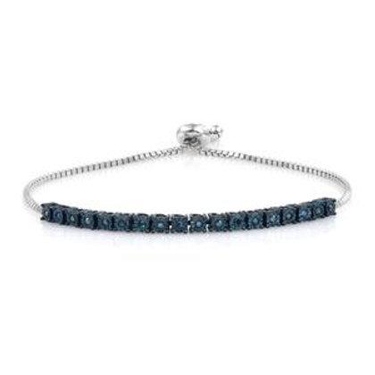 Blue Diamond Bolo Line Bracelet  0.18 DTW