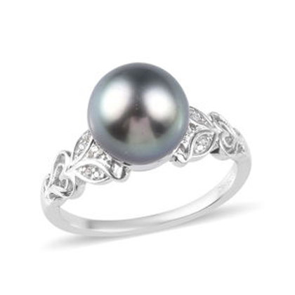 Tahitian Cultured Pearl 10-11 mm and Zircon Ring (Size 7)