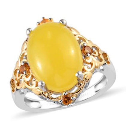 Burmese Yellow Jade, Brazilian Citrine Ring (8).  6.90 CTW