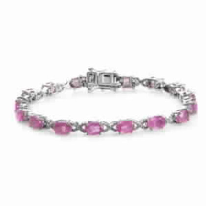 9.60 CTW Hot Pink Sapphire Infinity Station Bracelet 6.50 inch