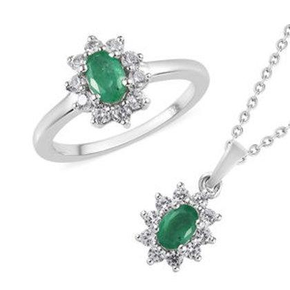Zambian Emerald, Natural White Zircon Ring Size 10.0.  CTW 0.90