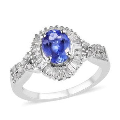 Premium Tanzanite and Diamond Ring.  Size 10.  1.75 CTW.