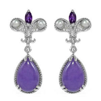 7.67 ctw Burmese Purple Jade and Multi Gemstone Earrings
