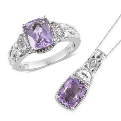Rose De France Amethyst Ring (8) and Pendant Necklace.  5.75 CTW