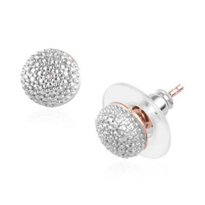 Diamond Accent Stud Earrings in 14K Rose Gold Over Sterling Silver