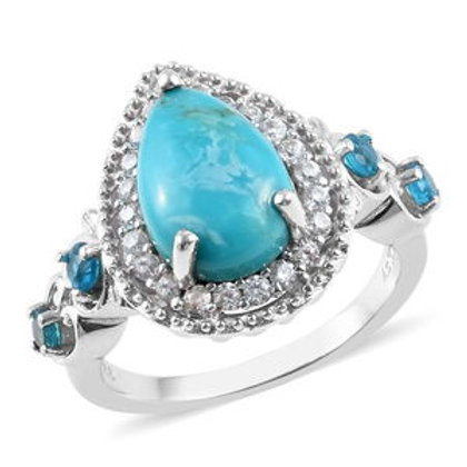 3.65 ctw South Hill Turquoise and Multi Gemstone Ring