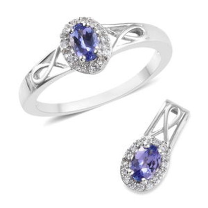 1.20 ctw Tanzanite and Zircon Ring Size 6 and Pendant