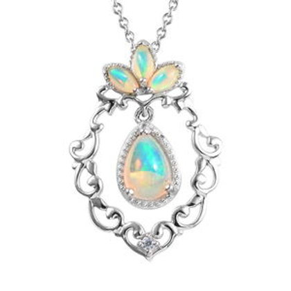 1.10 CTW Welo Opal and Natural White Zircon Inner Drop Necklace (20 in)