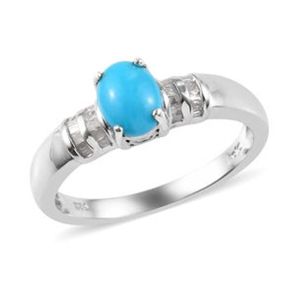 1.14 ctw Arizona Sleeping Beauty Turquoise and Diamond Ring Size 7