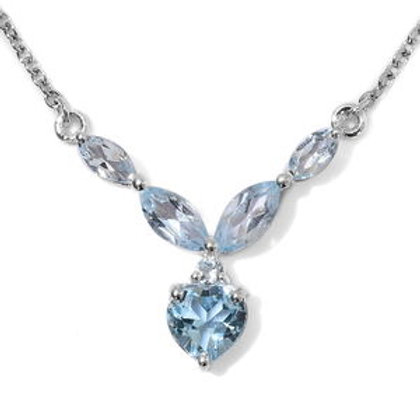 3.30 CTW Sky Blue Topaz Necklace 18 Inch