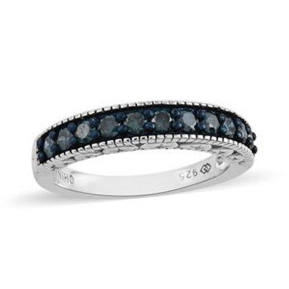 0.50 DTW Blue Diamond Ring Size 6
