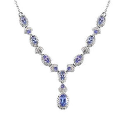 Tanzanite, Zircon Princess Drop Necklace.  3.00 CTW