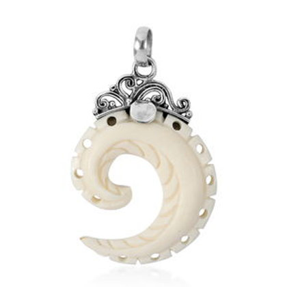 Carved Bone Swirl Pendant in Sterling Silver