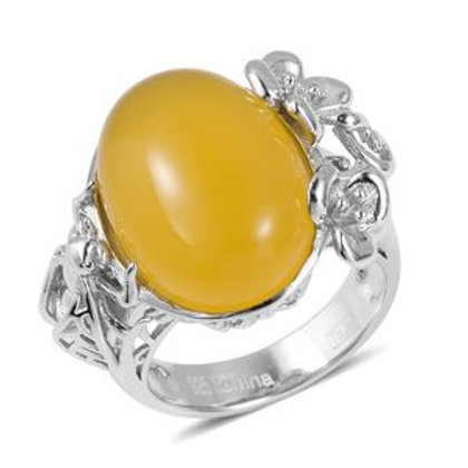 14.45 CTW Enhanced Yellow Agate Ring Size 9