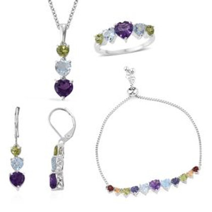 Amethyst Multi Gemstone Sterling Silver Bracelet, Earrings, Ring (7).  13.17 CTW